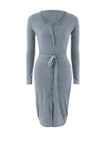 ByChicStyle Split Neck Snap Front Removable Tie Plain Bodycon Dress - Bychicstyle.com