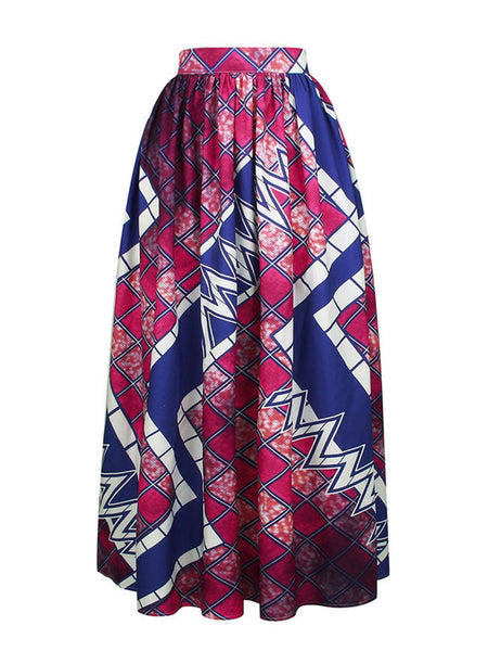 Casual Elastic Waist Geometric Printed Pleated High-Rise Maxi Skirt
