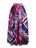 ByChicStyle Casual Elastic Waist Geometric Printed Pleated High-Rise Maxi Skirt