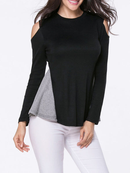 Open Shoulder Color Block Long Sleeve T-Shirt - Bychicstyle.com