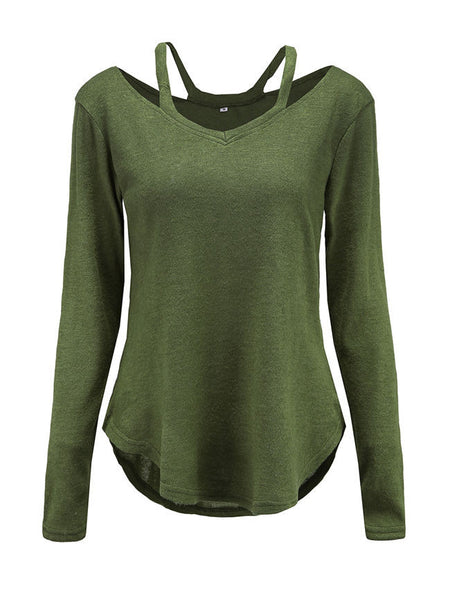 V-Neck Cutout Plain Sweater - Bychicstyle.com