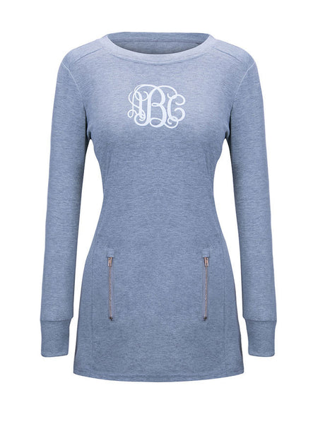 Round Neck Zips Letters Printed Sweatshirt - Bychicstyle.com