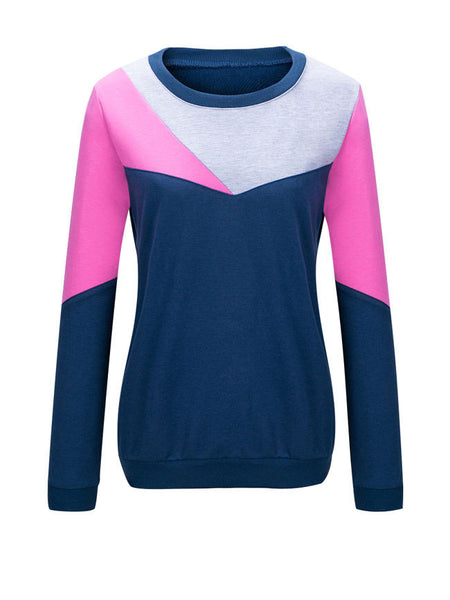 Round Neck Color Block Sweatshirt - Bychicstyle.com