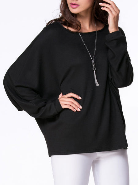 Round Neck Plain Batwing Long Sleeve T-Shirt - Bychicstyle.com