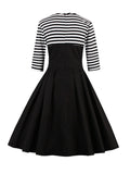 ByChicStyle Crew Neck Striped Skater Dress - Bychicstyle.com