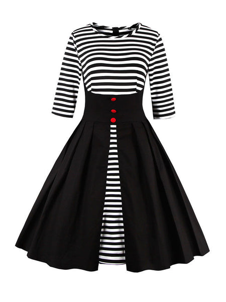 Crew Neck Striped Skater Dress - Bychicstyle.com