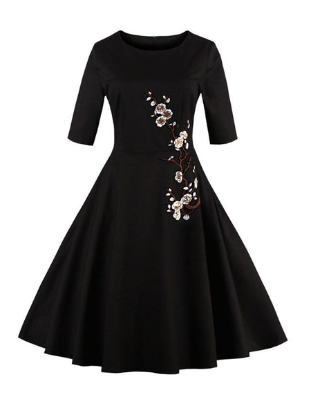 Round Neck Glitter Floral Embroidery Skater Dress - Bychicstyle.com