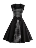 ByChicStyle Square Neck Decorative Button Polka Dot Skater Dress - Bychicstyle.com