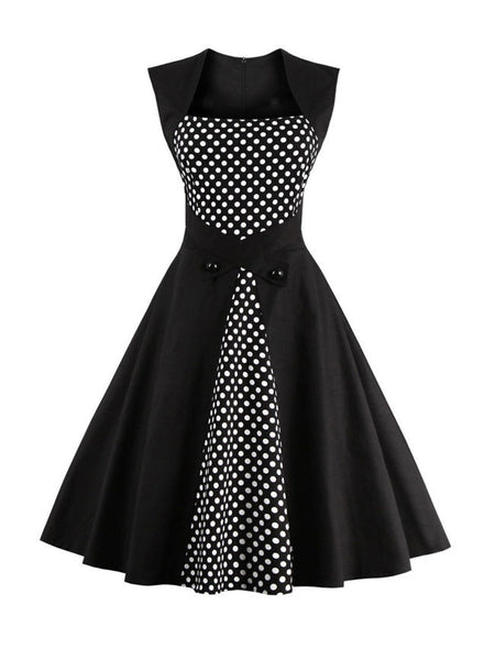 Square Neck Decorative Button Polka Dot Skater Dress - Bychicstyle.com