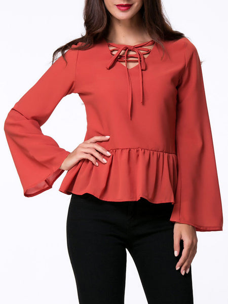 Casual V-Neck Lace-Up Ruffled Hem Bell Sleeve Blouse