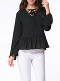 ByChicStyle Casual V-Neck Lace-Up Ruffled Hem Bell Sleeve Blouse