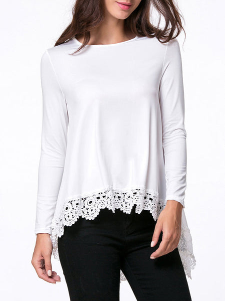 Casual Round Neck Decorative Lace Plain High-Low Long Sleeve T-Shirt