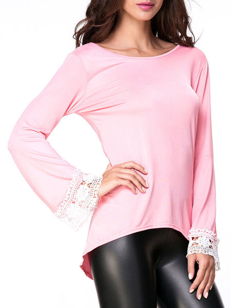 Casual Round Neck Decorative Lace Bell Long Sleeve T-Shirt