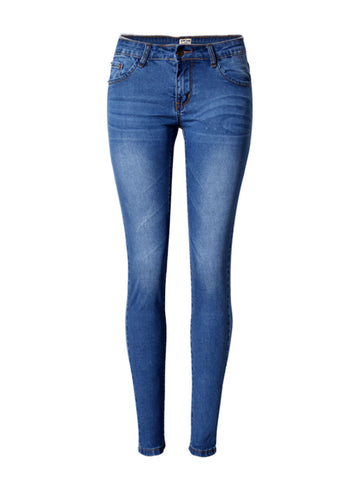 Light Wash Whiskered Slim-Leg Mid-Rise Jean - Bychicstyle.com