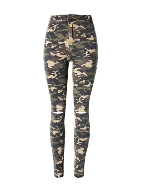 Camouflage Ripped Slim-Leg  High-Rise Jeans - Bychicstyle.com