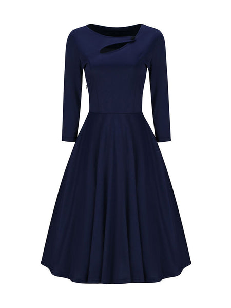Asymmetric Neck Cutout Plain Skater Dress - Bychicstyle.com