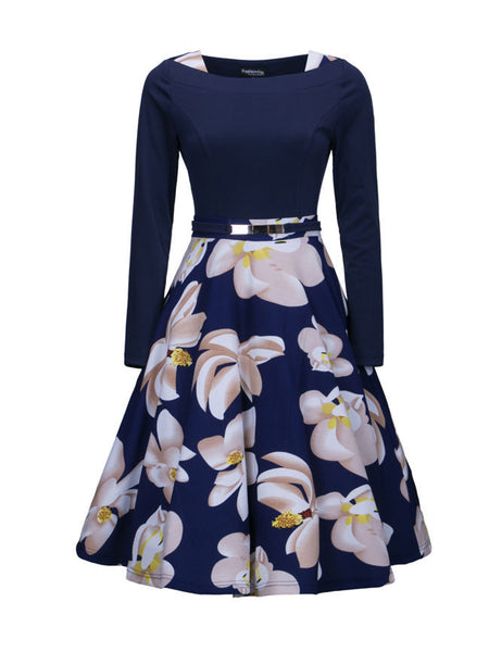 Square Neck Floral Printed Skater Dress - Bychicstyle.com