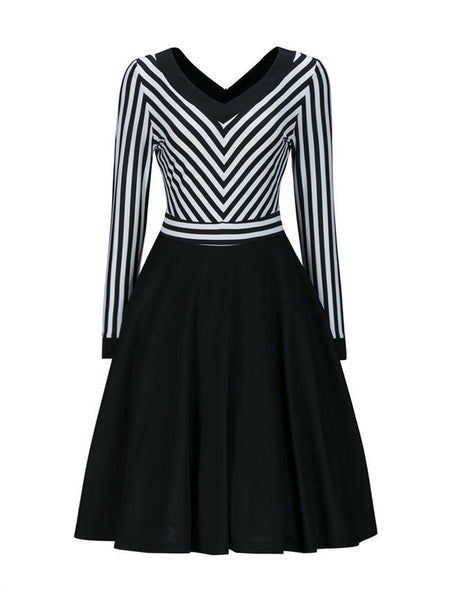 Casual V-Neck Striped Long Sleeve Skater Dress