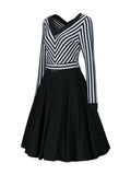 ByChicStyle Casual V-Neck Striped Long Sleeve Skater Dress
