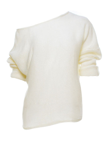 One Shoulder Plain Batwing Sleeve Sweater - Bychicstyle.com