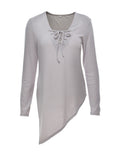 ByChicStyle V-Neck  Asymmetric Hem Lace-Up  Plain Long Sleeve T-Shirts - Bychicstyle.com