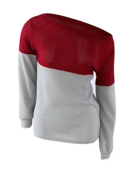 One Shoulder Color Block Sweater - Bychicstyle.com