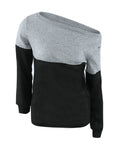 ByChicStyle One Shoulder Color Block Sweater - Bychicstyle.com