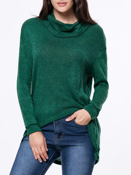 Cowl Neck Plain High-Low Sweater - Bychicstyle.com