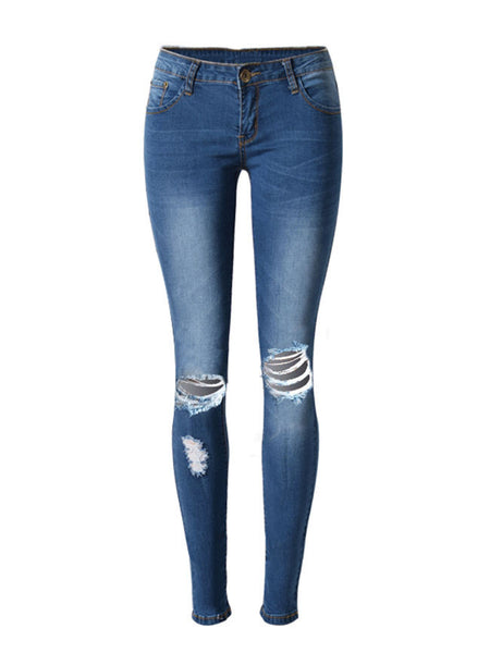 Casual Ripped  Light Wash  Slim-Leg  Mid-Rise Jeans