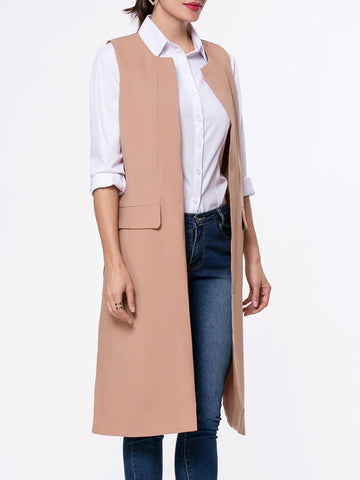 Collarless Side-Vented Plain Sleeveless Trench Coat - Bychicstyle.com