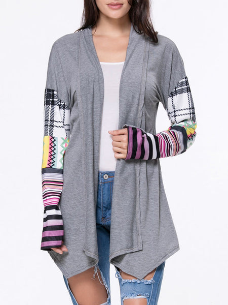 Lapel Asymmetric Hem Plaid Striped Cardigan - Bychicstyle.com