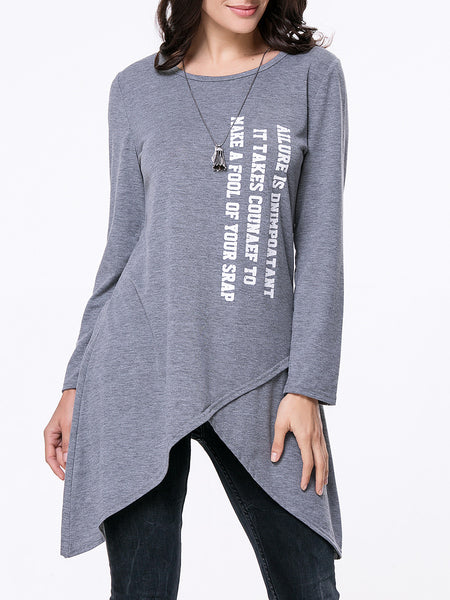 Casual Round Neck Asymmetric Hem Letters Long Sleeve T-Shirt