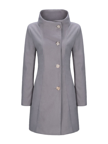 High Neck Single Breasted Plain Woolen Coat - Bychicstyle.com