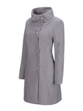 ByChicStyle High Neck Single Breasted Plain Woolen Coat - Bychicstyle.com