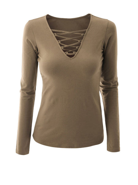 Casual V-Neck Lace-Up Plain Long Sleeve T-Shirt
