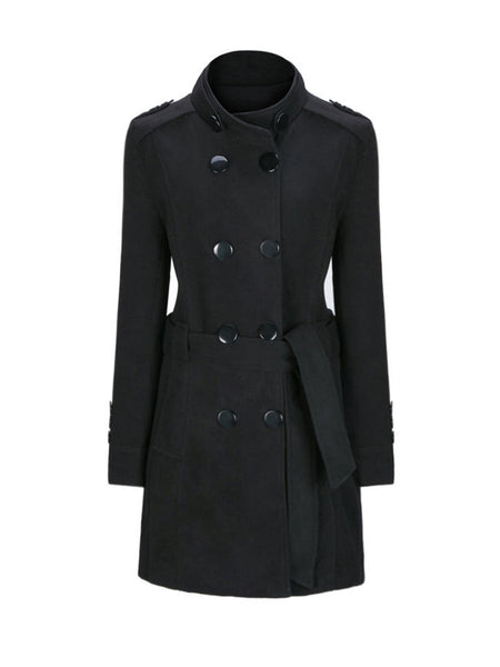 High Neck Double Breasted Plain Woolen Coat - Bychicstyle.com