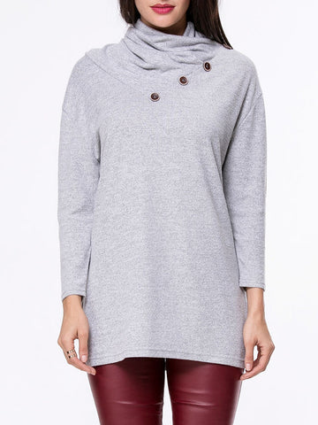 Cowl Neck Decorative Button Plain Sweater - Bychicstyle.com