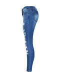 ByChicStyle Patch Pocket  Ripped  Light Wash  Slim-Leg  Mid-Rise Jeans - Bychicstyle.com