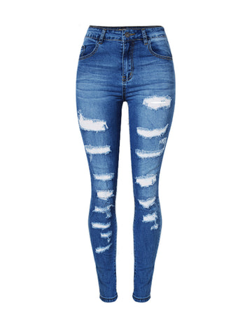 Patch Pocket  Ripped  Light Wash  Slim-Leg  Mid-Rise Jeans - Bychicstyle.com
