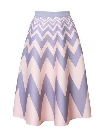 Casual Zigzag Striped Flared Maxi Skirt