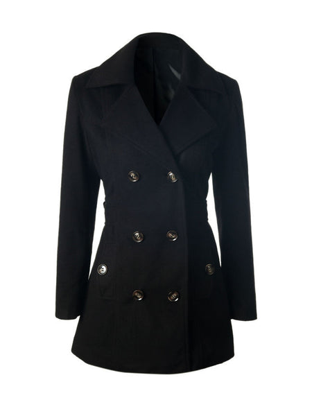 Lapel Double Breasted Plain Woolen Coat - Bychicstyle.com