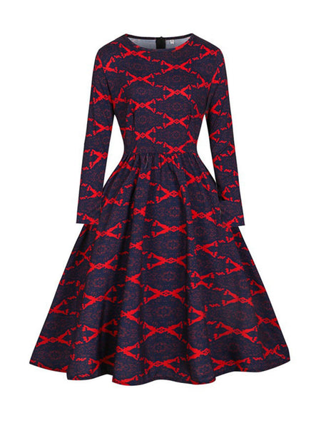Crew Neck Geometric Printed Skater Dress - Bychicstyle.com