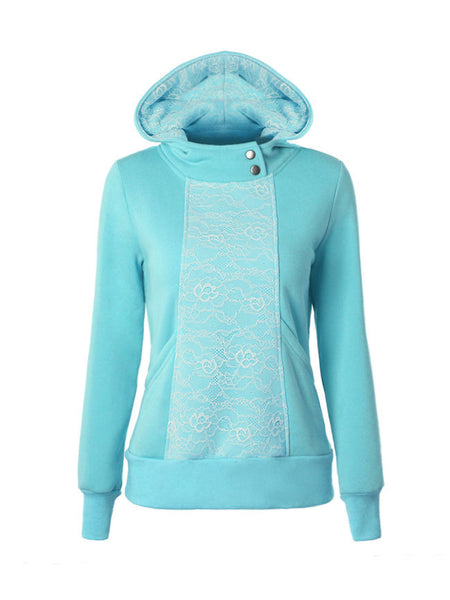 Hooded Decorative Button Lace Hoodie - Bychicstyle.com