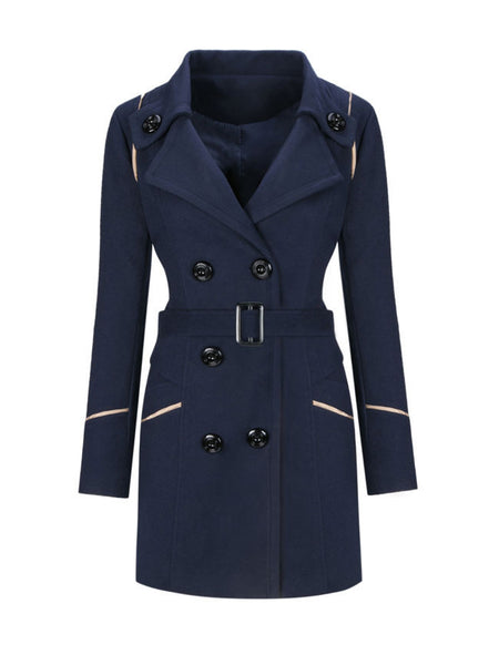 Lapel  Contrast Trim Double Breasted Woolen Coat - Bychicstyle.com