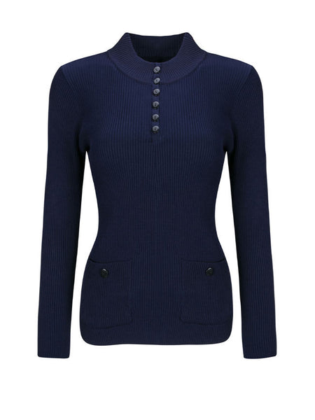 High Neck Patch Pocket Single Breasted Plain Sweater - Bychicstyle.com