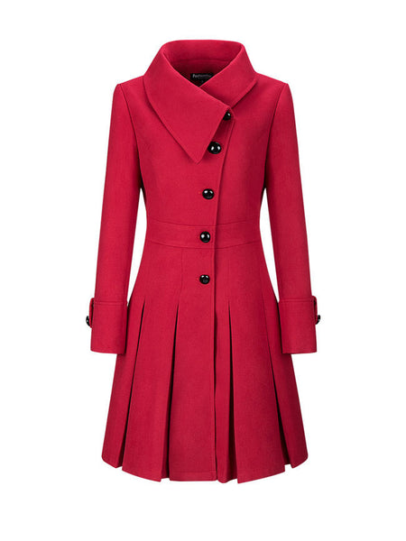 Fold-Over Collar Single Breasted Plain Swing Woolen Coat - Bychicstyle.com