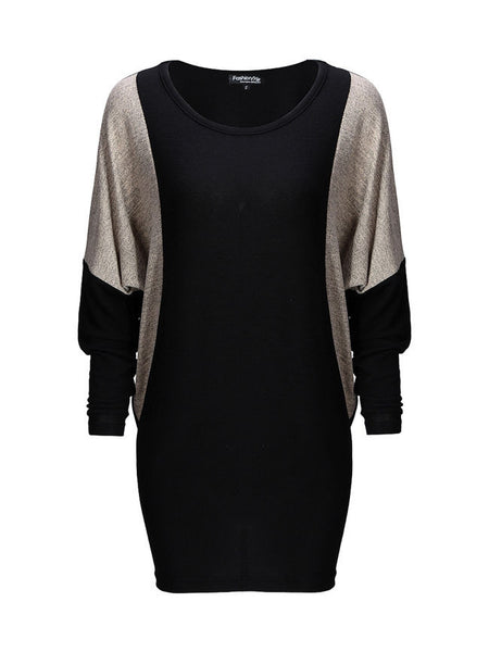 Chic Round Neck Color Block Batwing Long Sleeve Shift Dress - Bychicstyle.com