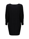 ByChicStyle Chic Round Neck Color Block Batwing Long Sleeve Shift Dress - Bychicstyle.com