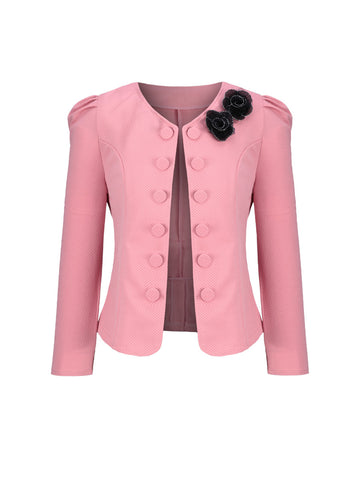 Delicate Bowknot Decorative Button Puff Sleeve Blazer - Bychicstyle.com