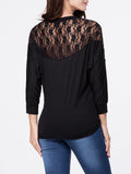 ByChicStyle Round Neck Hollow Out Plain Batwing Long Sleeve T-Shirt - Bychicstyle.com